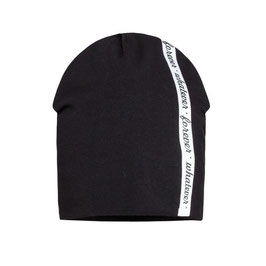 Kopfbedeckung - Mütze für Buben -schwarz mit weißen Streifen