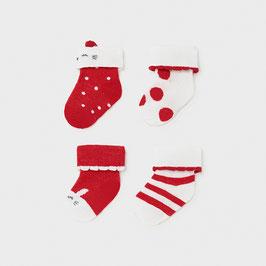 Socken 4 er Set - rot -´weiß - Neugeborene - Mädchen - Mayoral