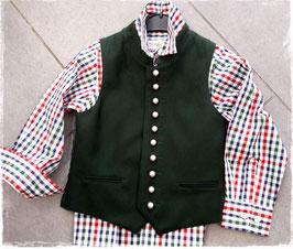 Tracht - Jacke - Lodenweste in grün mit Stehkragen mit Silberknöpfen - Kindertracht