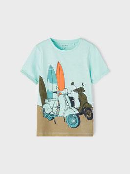 Shirt - Vespa - kurzarm - Shirt- aqua - NAME IT MINI JUNGE