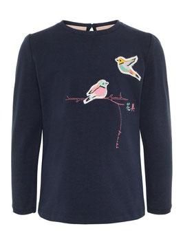 Shirt bestickt Vogel blau