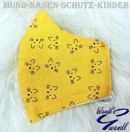 Mund-Nasen-Maske-Kinder - Katze - gelb