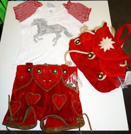 Tracht - Hose - Lederhose mit Herz in rot für Mädchen - Tracht Mädchen
