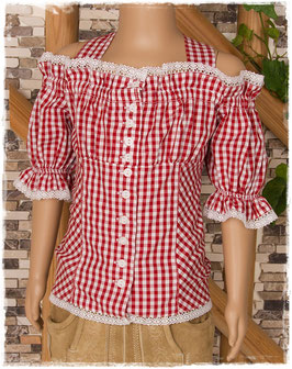 Tracht - Bluse -Carmenbluse in rot - Tracht Mädchen