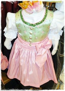 Babydirndl grün - rosa - Tracht Mädchen