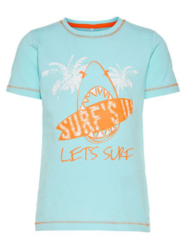 Shirt - aqua mit Surfbrett & Hai - NAME IT MINI JUNGEN