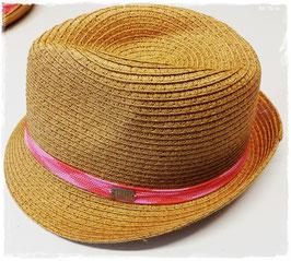 Kopfbedeckung - Hut - Natur mit rosa Band - UV - Schutz + Sterntaler