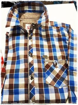 Tracht - Hemd - Kindertrachten Hemd - spieth & wensky - blau - braun - Kindertrachtenhemd