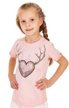 Tracht - Shirt - Kinder Trachtenshirt in lachs mit Herz - Tracht Mädchen