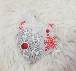 Mund-Nasen-Maske - rot - weiß - grau -. Weihnachtsmotiv - für Kinder ab 8 Jahre geeignet