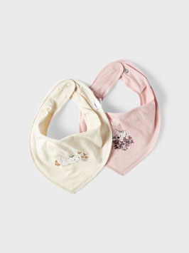 Halstuch -  natur - rosa  - Blumenmotiv - 2er-Pack AKTION - NAME IT NEW BORN MÄDCHEN