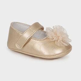 Schuhe - Babyschuhe - Spangenschuh mit Blume - champagner - Taufe