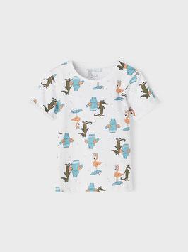 Shirt - Krokodil - kurzarm - weiß - NAME IT MINI JUNGE