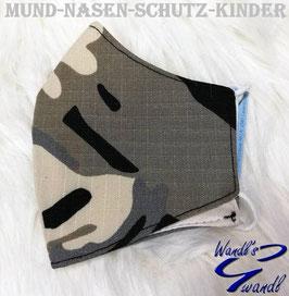 Mund-Nasen-Maske-Kinder - camouflage - grau