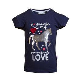 Shirt - Pferd - Love - marine - Wisch Pailletten