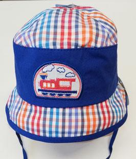 Kopfbedeckung - Sommer - Sonnenhut blitzblau mit Lokomotive -UV - Schutz 50 + - Sterntaler