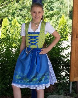 Teenie Dirndl - Modell Krone in kiwi/blau - Tracht Mädchen