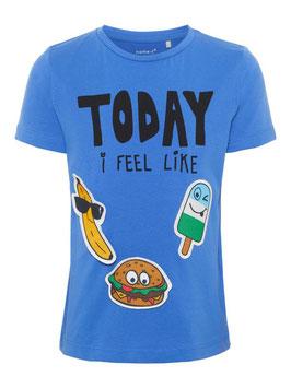 Shirt mit abnehmbaren Lebensmittel in blau