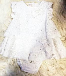 Kleid - Taufkleid weiß mit Lochmuster und Masche am Brustteil - Taufe - Festmode
