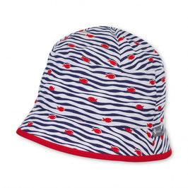 Kopfbedeckung - Sommer - Fischerhut weiß - rot - blau mit roten Fischen - UV - Schutz 50 + Sterntaler
