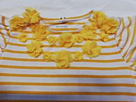 Shirt - Streifenshirt mit Blumen - weiß - gelb - NAME IT KIDS MÄDCHEN