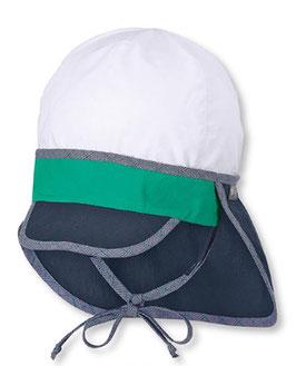Kopfbedeckung - Schirmmütze weiß - blau-grün mit Nackenschutz + UV-Schutz 50+-Sterntaler