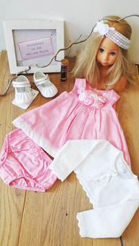 Kleid - Taufkleid Majoral in rosa/weiß mit Rosenblüten - Taufe - Festmode