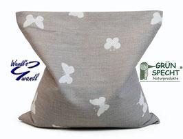 Kissen - Rapssamen - Kissen - grau - weiß - Schmetterlinge