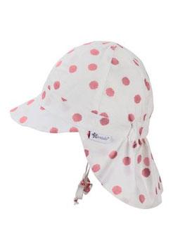Kopfbedeckung - Schirmmütze mit Nackenschutz - weiß - rosa Punkte - UV Schutz - Sterntaler