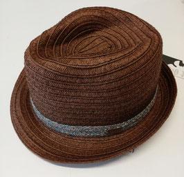 Kopfbedeckung - Sommer - Sonnenhut braun mit blauen Hutband - zusammenlegbar - UV Schutz - Sterntaler