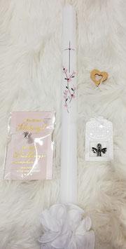 Taufkerze - Kreuz mit Zweig rosa/silber verspielt