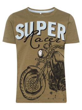 Shirt - Super Racer - Motorrad kurzarm - name it in kaki - NAME IT MINI JUNGEN