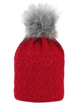 Kopfbedeckung - Strickmütze - Zopfmuster - rot - Sterntaler