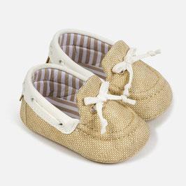 Schuhe - Babyschuhe - Mokassins - aus Leinen - Taufe