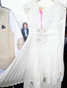 Kleid - Plisseekleid - creme - Festkleid