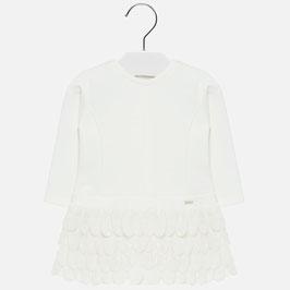 Kleid - Festkleid - langarm - Taufkleid -  ivory mit Blütenblätter - Mayoral - Baby - Taufe - Festmode