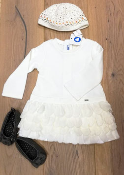 Kleid - Festkleid langarm in ivory mit Blütenblätter - Mayoral - Baby - Taufe - Festmode
