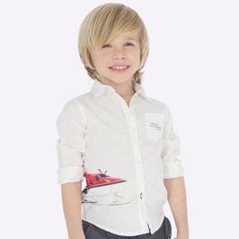 Hemd - Kinderhemd mit Aufdruck in weiß - Fa. Mayoral