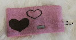 Kopfbedeckung - Stirnband rose mit braunen Herz -  winddicht -  NAME IT MINI GIRL