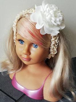 Kopfbedeckung - Stirnband - ivory - mitwachsend - große Blüte - Taufe - Festmode