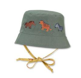 Kopfbedeckung - Wende - Fischerhut gelb - grün - mit Tiermotiven - UV Schutz - Sterntaler