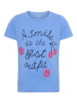 Smile Shirt blau kurzarm von name it
