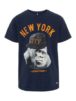 Shirt - New York -dunkelblau - Schimpanse mit Kappe -  NAME IT KIDS JUNGEN
