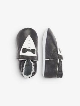 Schuhe - Jungenschuhe - Lederslipper schwarz - weiß mit Schlips - TAUFE - FESTMODE