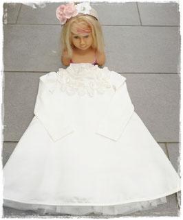 Festkleid ivory mit aufgesetzten Rosen - Festkleid