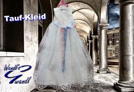 Kleid - Taufkleid mit edler Spitze lang mit Tüll inkl. rosa & hellblauen Satinband - Taufe - Festkleid