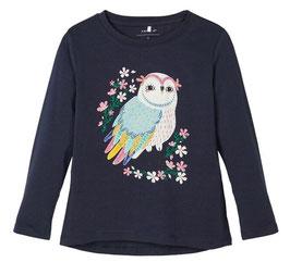 Shirt - Girl Shirt Eule blau - NAME IT MINI MÄDCHEN
