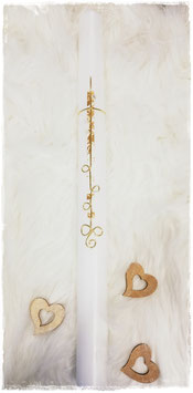 Taufkerze mit Spiralenkreuz in gold