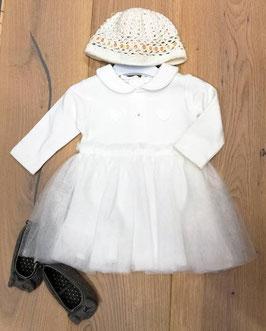 Kleid - Taufkleid  langarm in ivory mit Rundkragen - Taufe - Festmode
