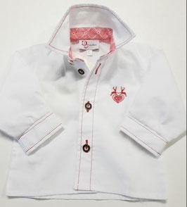 Tracht - Hemd - Trachtenhemd für Kind - weiß mit Hirschmotiv Stickerei - Kindertracht